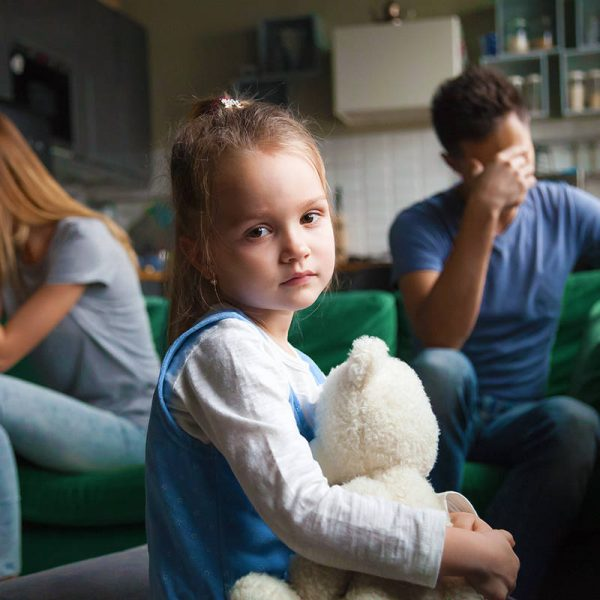 Frustrated Little Girl Upset Tired of Parents Fight Looking At