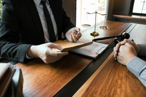 Attorney discussing private matters in divorce